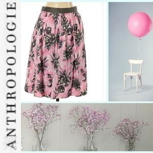Romantic Odille Pink & Gray Floral A-Line Skirt 8